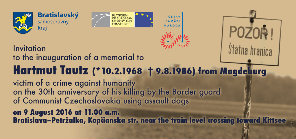Platform to inagurate memorial to Hartmut Tautz, East-German refugee killed by the Czechoslovak Border guard on 9 August 1986