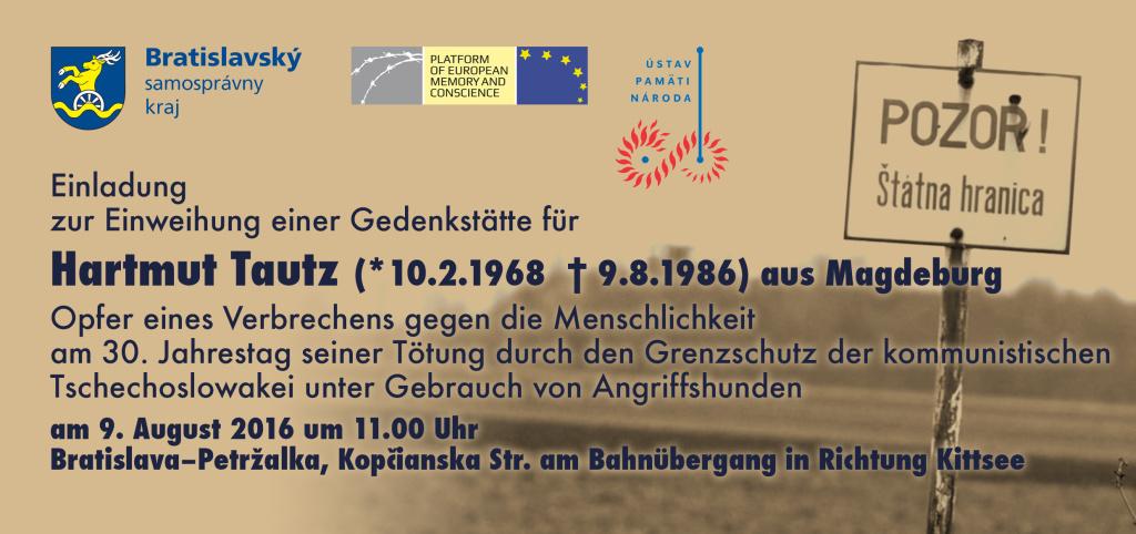 Hartmut Tautz Gedenkstaette Einladung 9.8.2016