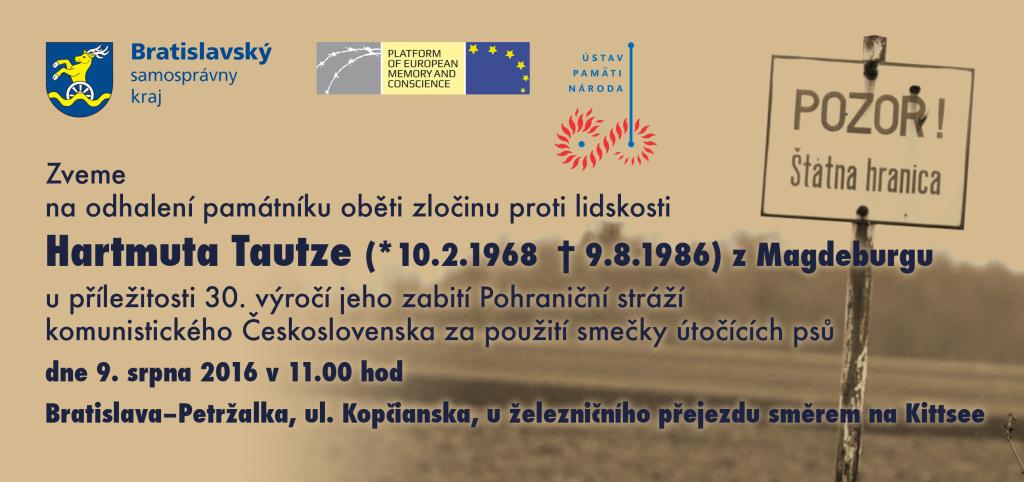 Hartmut Tautz pamatnik pozvanka CZ 9.8.2016